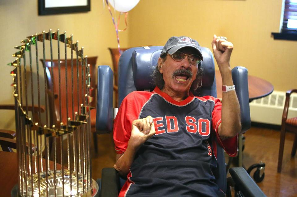 Frank Nunes spent time with the 2013 World Series trophy Tuesday at the Bostonian Nursing and Rehabilitation Center.